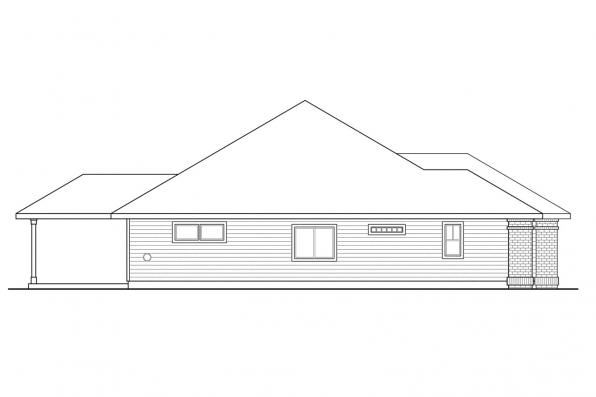 Ranch House Plan - Green Valley 70-005 - Left Elevation