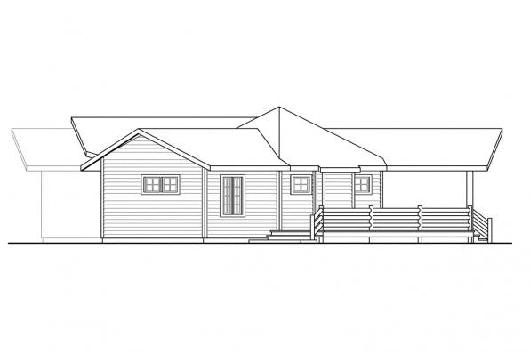 Ranch House Plan - Greenview 70-004 - Right Elevation