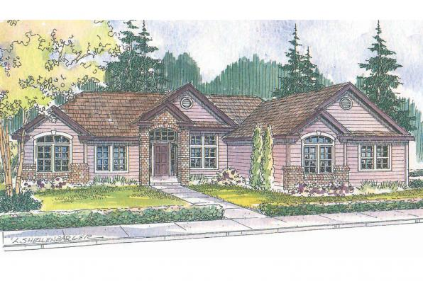 Ranch House Plan - Haverford 30-373 - Front Elevation