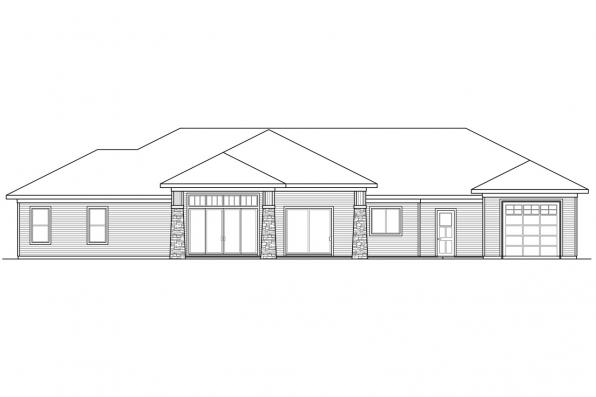 Ranch House Plan - Heartlodge 10-640 - Rear Elevation