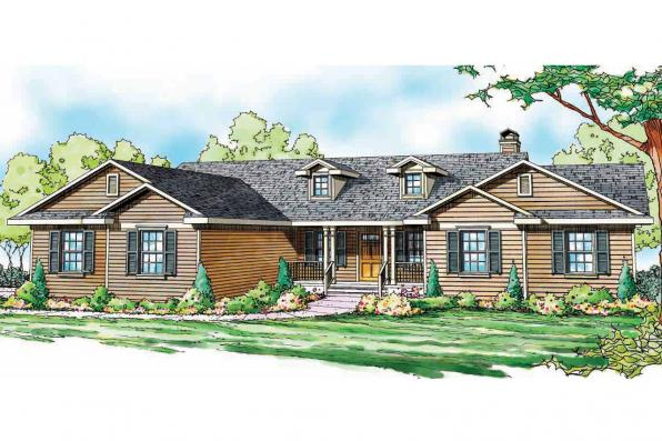 Ranch House Plan - Heartville 10-560 - Front Elevation