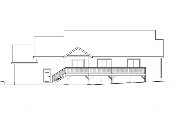 Ranch House Plan - Lakeridge 31-069 - Rear Elevation