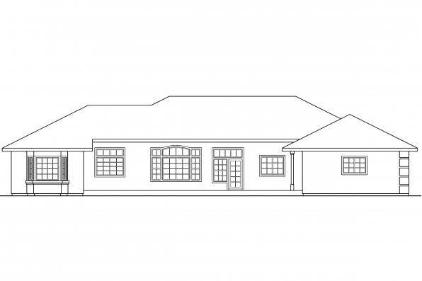 Ranch House Plan - Lantana 30-177 - Rear Elevation