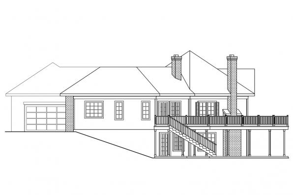 Ranch House Plan - Linfield 10-322 - Right Elevation