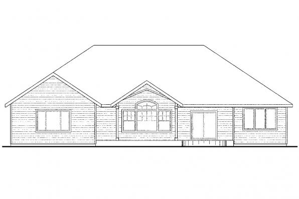 Ranch House Plan - Lupine 30-747 - Rear Elevation