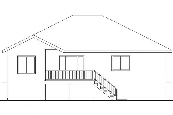 Ranch House Plan - Olmstead 30-548 - Rear Elevation