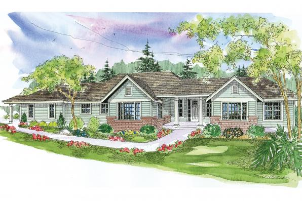 Ranch House Plan - Parkdale 30-684 - Front Elevation