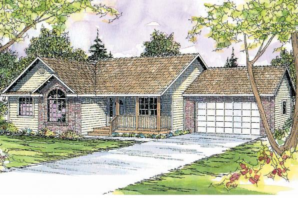 Ranch House Plan - Rigdon 30-090 - Front Elevation