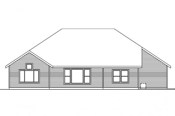 Ranch House Plan - Schuyler 30-522 - Rear Elevation