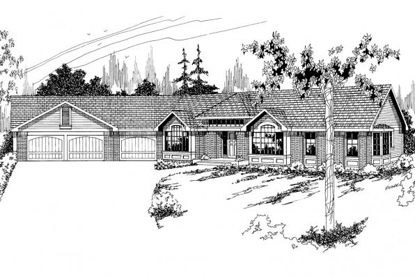 Ranch House Plan - Sheridan 10-042 - Front Elevation
