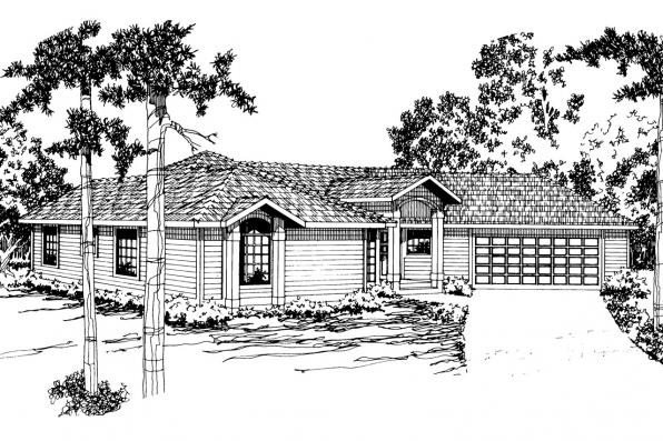 Ranch House Plan - Wateridge 10-144 - Front Elevation