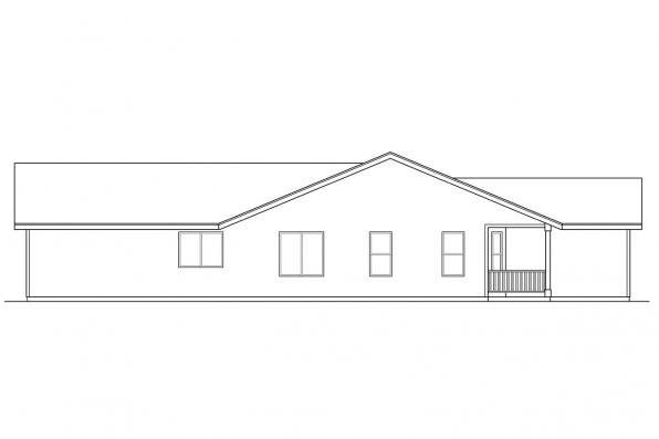 Ranch House Plan - Waverly 30-087 - Left Elevation
