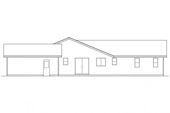 Ranch House Plan - Waverly 30-087 - Right Elevation