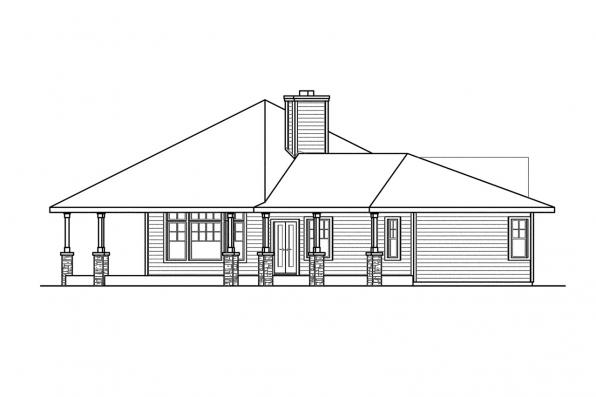 Ranch House Plan - Willow Creek 10-542 - Left Elevation