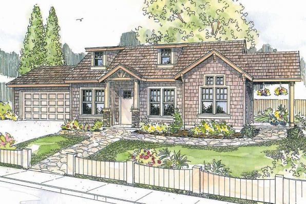 Shingle Style House Plan - Colebrook 30-528 - Front Elevation