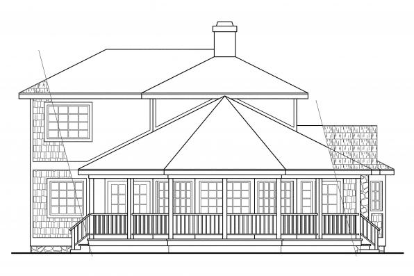 Shingle Style House Plan - Lakeview 10-079 - Right Elevation