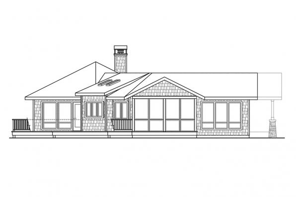 Shingle Style House Plan - Sandpoint 10-565 - Left Elevation