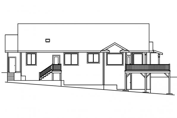 Sloped Lot House Plan - Shreveport 30-231 - Rear Elevation