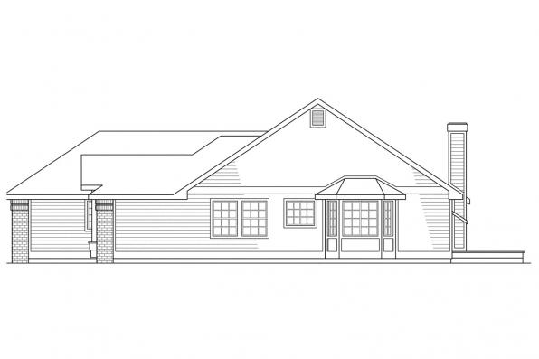 Small House Plan - Akron 10-038 - Rear Elevation