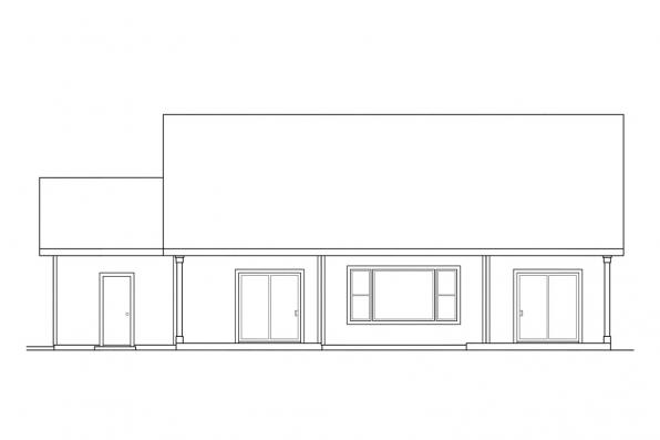 Small House Plan - Brookview 30-055 - Rear Elevation