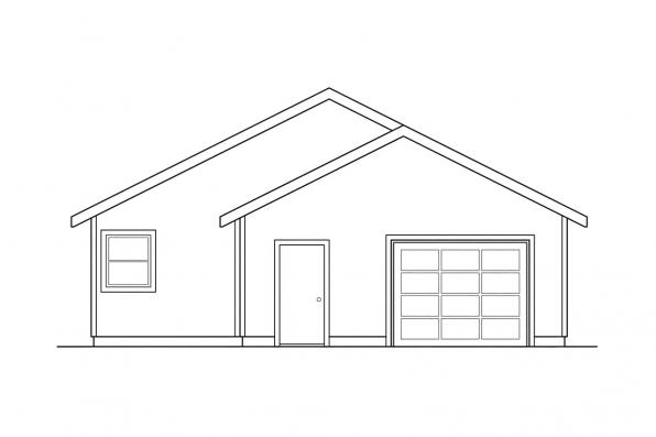 Small House Plan - Cleveland 30-105 - Rear Elevation