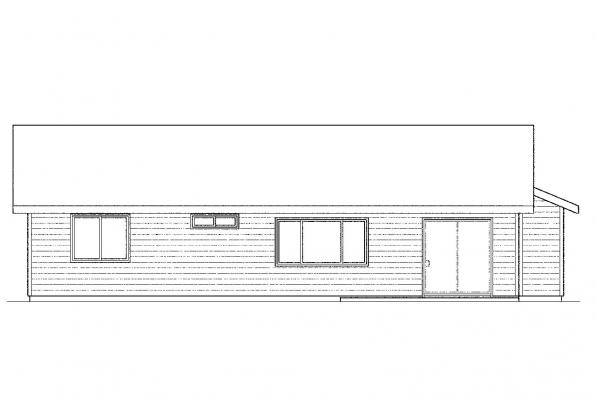 Small House Plan - Copperfield 30-801 - Rear Elevation