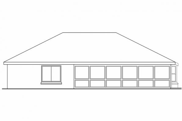 Small House Plan - Crosbyton 11-136 - Rear Elevation
