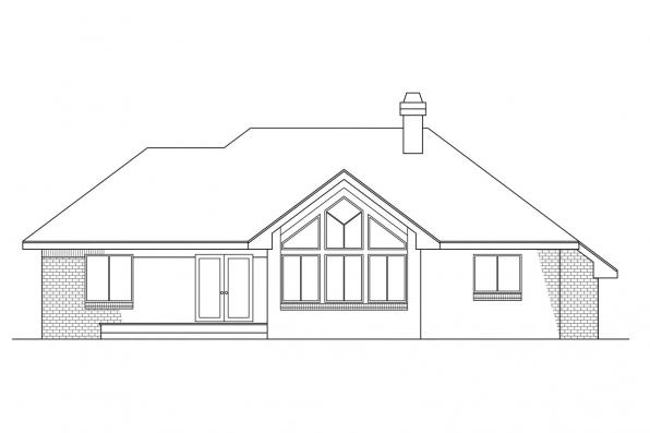 Small House Plan - Danbury 10-036 - Rear Elevation