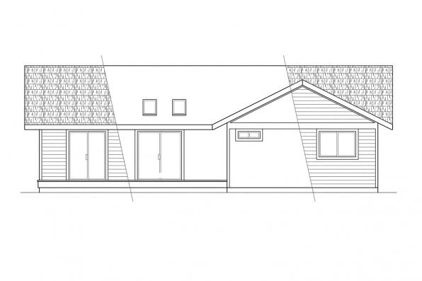 Small House Plan - Evanston 10-112 - Rear Elevation