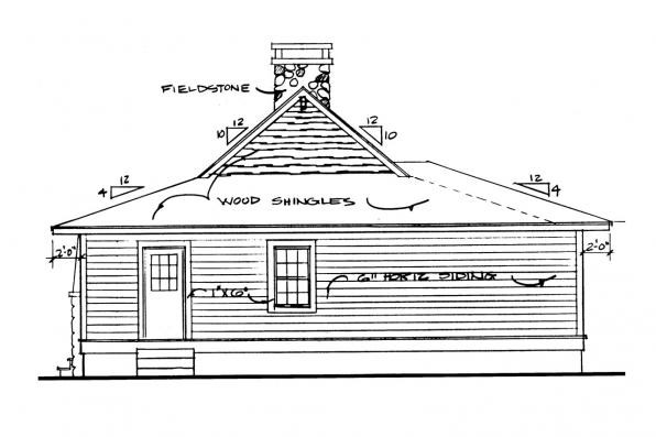 Small House Plan - Fenwick 41-012 - Rear Elevation