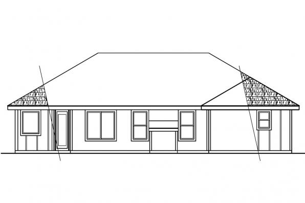 Small House Plan - Tyndale 30-337 - Rear Elevation