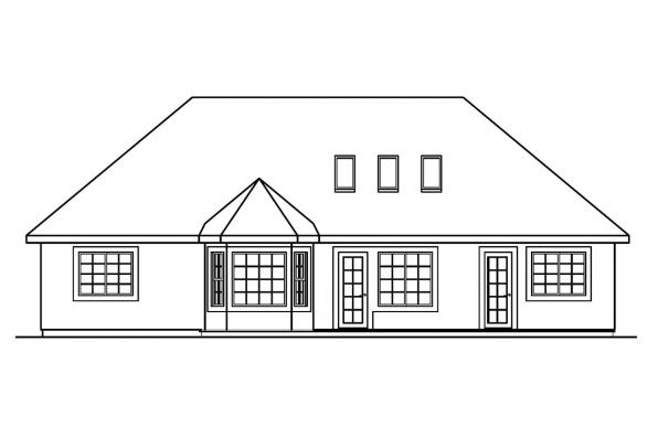 Small House Plan - Whitmore 30-335 - Rear Elevation