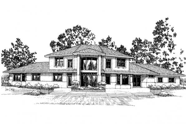 Southwest House Plan - Estefan 30-125 - Front Elevation