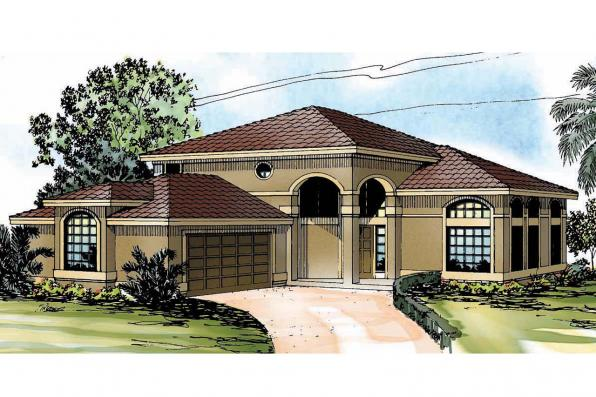 Southwest House Plan - Southaven 11-038 - Front Elevation
