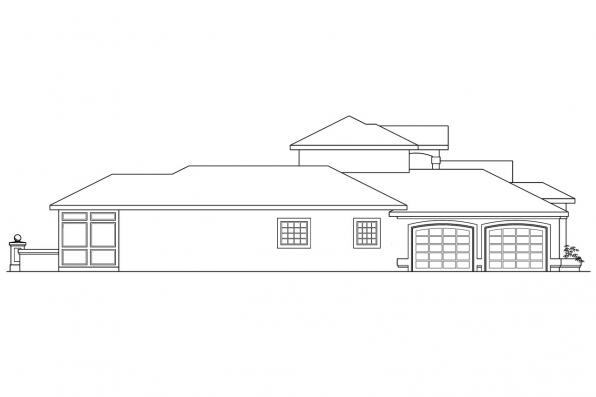 Spanish Style House Plan - Roswell 11-086 - Left Elevation