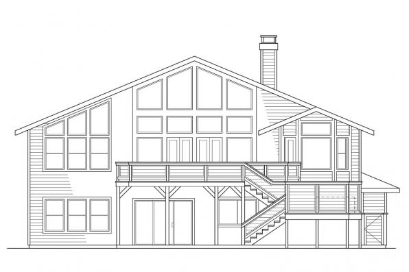 Split Level House Plan - Matice 30-144 - Rear Elevation