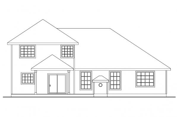 Tranditional Home Plan - Cranston 30-539 - Rear Elevation