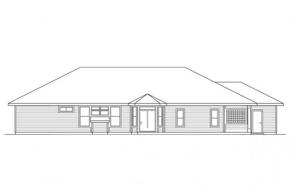Traditional Home Plan - Fernridge 10-175 - Rear Elevation