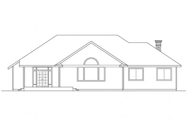 Traditional House Plan - Jessica 30-049 - Rear Elevation