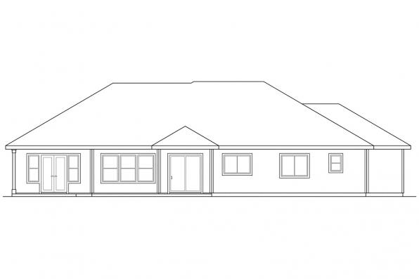 Traditional Home Plan - Waterford 30-078 - Rear Elevation