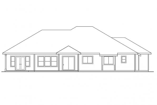 Traditional House Plan - Anniston 10-304 - Rear Elevation