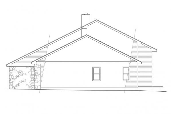 Traditional House Plan - Brazos 51-001 - Right Elevation