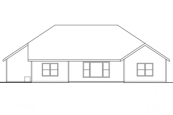 Traditional House Plan - Cheyenne 30-643 - Rear Elevation