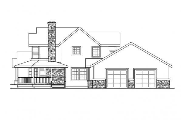 Traditional House Plan - Hilyard 10-408 - Right Elevation