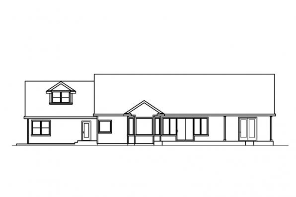 Traditional House Plan - Maxwell 30-458 - Rear Elevation