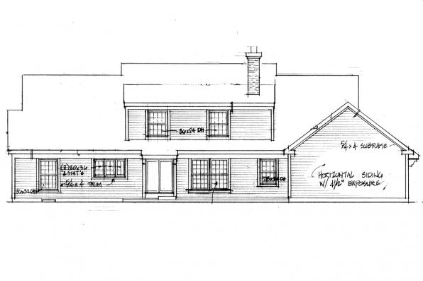 Traditional House Plan - Namskaket 42-004 - Rear Elevation