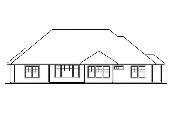 Traditional House Plan - Palmer 30-416 - Rear Elevation