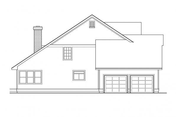 Traditional House Plan - Richland 10-256 - Left Elevation