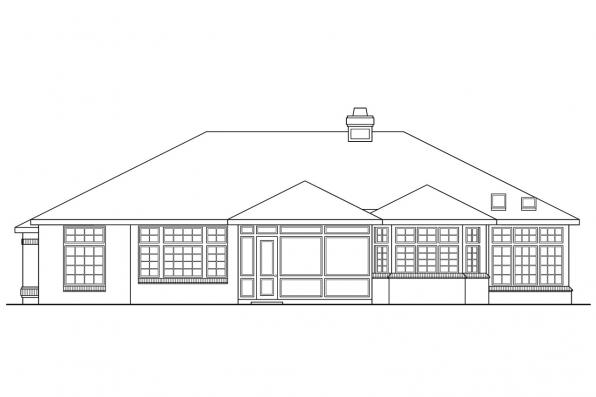 Traditional House Plan - Sedalia 10-231 - Rear Elevation