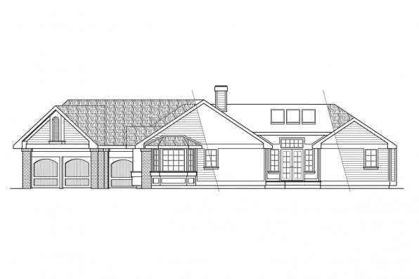 Traditional House Plan - Sheridan 10-042 - Right Elevation